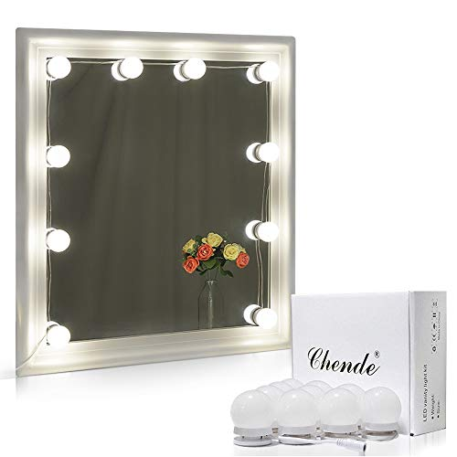 Chende Hollywood Style LED Vanity Mirror Lights Kit with Dimmable Light Bulbs, Lighting Fixture Strip for Makeup Vanity Table Set in Dressing Room ( Mirror ...