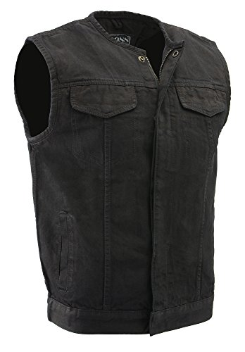 Price comparison product image M-Boss Motorcycle Apparel-BOS13001-BLACK-Men's Collarless Denim Club Style Vest w/Hidden Zipper-BLACK-4XL
