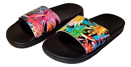 Sandalo Da Donna Con Stampa Tropicale, Infradito Rosa