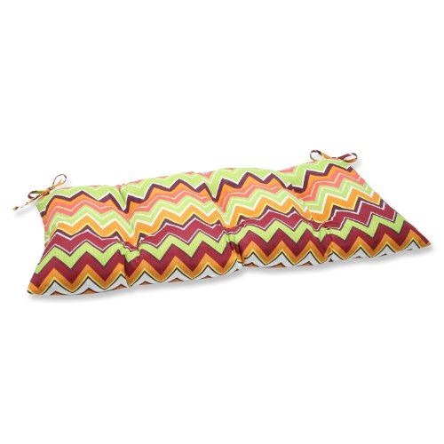 Pillow Perfect Indoor/Outdoor Zig Zag Raspberry Swing/Bench Cushion by Pillow Perfect