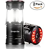 Snorda 2 Pack Camping Lantern, Portable LED Lantern SOS LED Flashlight with 4 Modes - Camping Equipment, Real Survival Kit for Emergency, Outage, Daily Use Flashlight (Black)