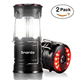 LED Camping Lantern - Snorda LED Camping Lantern, 2 Pack Portable Lantern SOS LED Flashlight with 4 Modes - Camping Equipment, Real Survival Kit for Emergency, Outage, Daily Use Flashlight (Black)