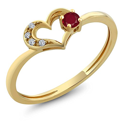 Real Heart Gold Diamond (10K Yellow Gold Round Red Ruby and Diamond Heart Shape Ring (0.14 Cttw, Available in size 5, 6, 7, 8, 9))