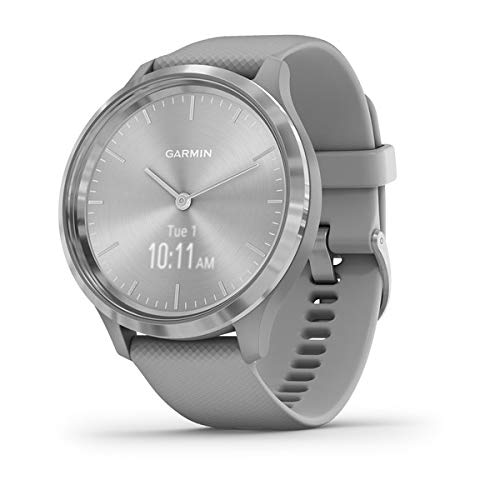 Garmin vívomove 3, Hybrid Smartwatch with Real Watch Hands and Hidden Touchscreen Display, Silver with Gray Case and Band