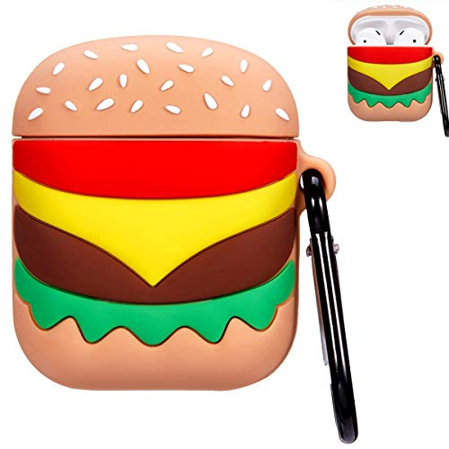 Punswan Hamburger Airpod Case for Apple Airpods 1&2,Cute 3D Funny Cartoon Character Soft Silicone Catalyst Cover,Kawaii Fun Cool Keychain Design Skin,Fashion Color Cases for Girls Kids Boys Air pods