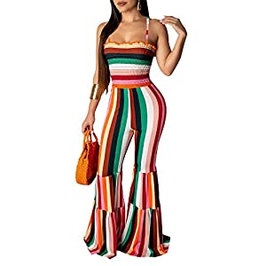 MS Mouse Womens Rainbow Print Stripes Crop Top + Wide Leg Pants 2 Piece Outfits