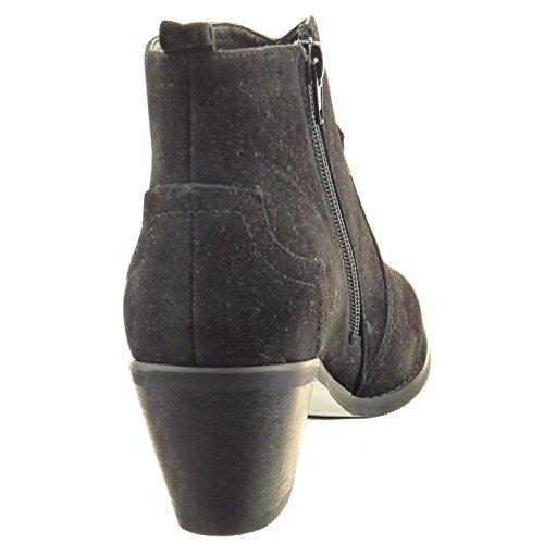 Sopily - Zapatillas de Moda Botines cavalier Tobillo mujer acabado costura pespunte Talón Tacón ancho alto 6 CM - Negro