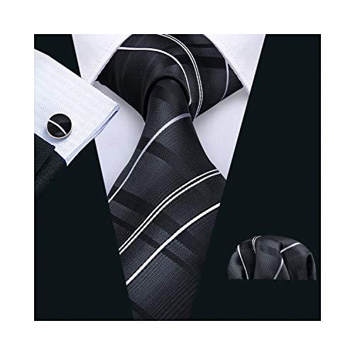 Black Stripe Tie Set Handkerchief Cufflinks Business Neckties for Men Woven (Cufflinks Stripes Necktie Set)