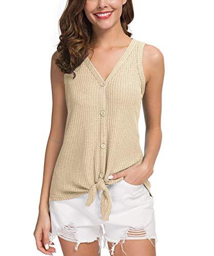 JOSIFER Women's Button Down Beige Henley Tops Shirts Waffle Knit Tunic Blouse,M ()