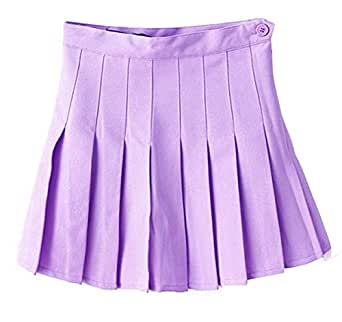 Women School Uniforms plaid Pleated Mini Skirt Light Purple a 0