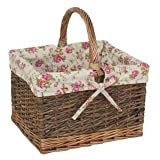 Country Butchers Wicker Rose Lining Shopping Basket