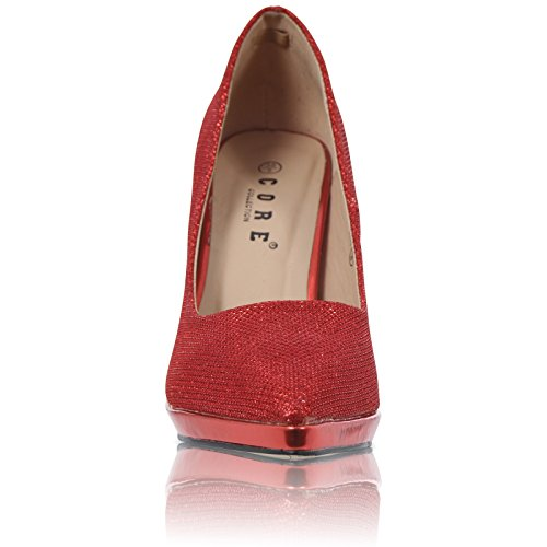 CORE COLLECTION New Womens Pointed Stiletto HIGH Heel Platform Court Shoes Size UK 3-8 Red Glitter odiRv