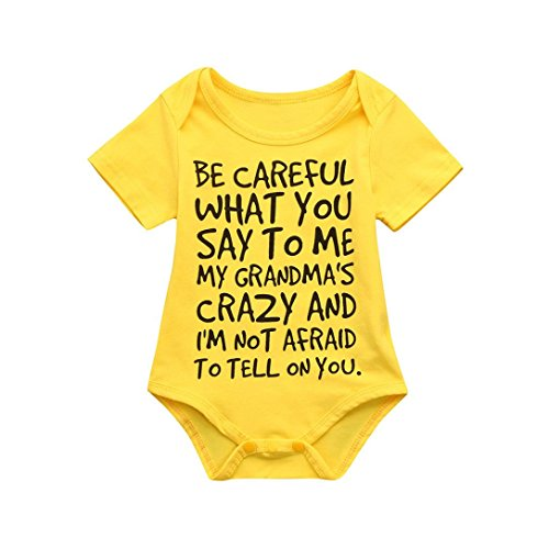 Nevera Toddler Short Sleeve Playsuit, Infant Baby Boys Girls Love Pattern Letter Romper Clothes (6M, Yellow (Cheap Baby Items)