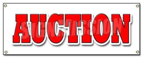 Auction Banner Sign Antique Jewelry Furniture Artwork Estate Sale fine Art Coins