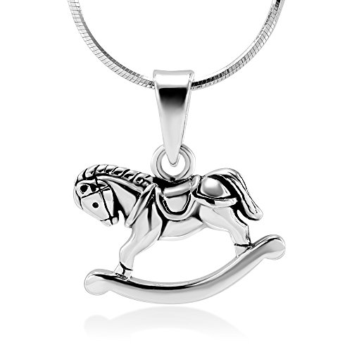 (Sterling Silver Little Rocking Horse Pony Toy Pendant Necklace w/Silver Snake Chain 18
