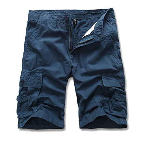 (Wadonerful Classic Men's Casual Shorts Solid Color Button Pocket Cargo Shorts Outdoor Fitness Jogging Sweatpants Blue)