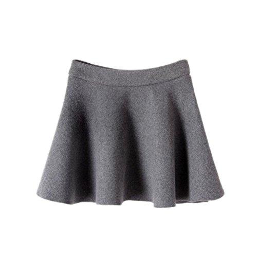 Memorose Women Elegant Waist Flared Soft Wool Pleated Skater Mini Skirt Skirts Grey M (Skirt Wool Soft)