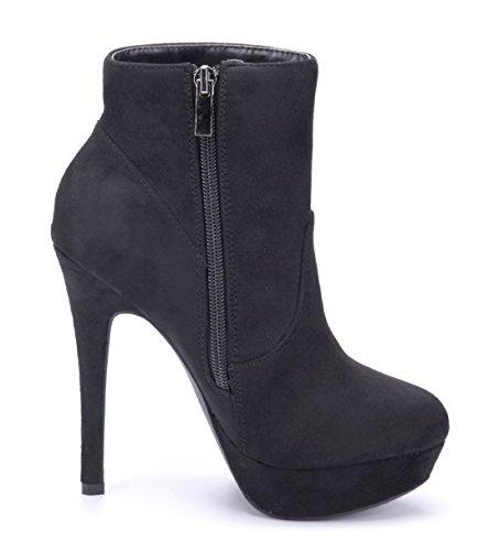 Schuhtempel24 Damen Schuhe Plateau Stiefeletten Stiefel Boots Stiletto Ziersteine 13 cm High Heels Schwarz