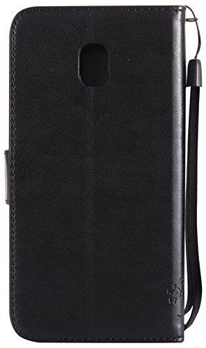Samsung Galaxy J3 2017 Hülle Europäische Version(5,0Zoll) im Retro Wallet Design,Roreikes Leadertasche Premium Lederhülle Flip Case im Bookstyle Folio Cover Kartenfächer Magnetverschluss und Standfunk schwarz