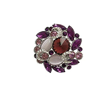 TTjewelry Vintage Flower Wreath Little Brooch Pin Purple Rhinestone Crystal for cheap pjsc2GMX
