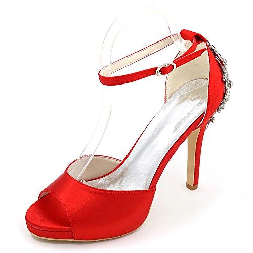 L@YC Zapatos De Boda De Las Mujeres Confort De Tacones altos BáSico De SatéN De La Bomba Vestido De Novia Partido Y Noche Rhinestone Perla ImitacióN Red