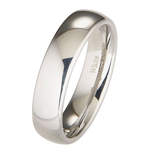 MJ Metals Jewelry 6mm White Tungsten Carbide Polished Classic Wedding Ring Size 9