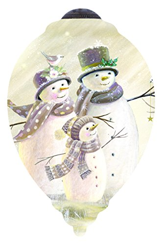 """mas Gifts, """"Snow Family"""" Artist Sarah Summers, Petite Princess-Shaped Glass Ornament, #7151113 (3 Inch Snowman)"""