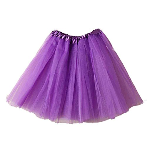 GOVOW Carnival Party Layer Skirt - Pretty Girl Elastic Stretchy Adult Ballet Tutu Layered Organza Lace Mini Skirt(W:50CM-100CM/L:42CM,Purple) ()