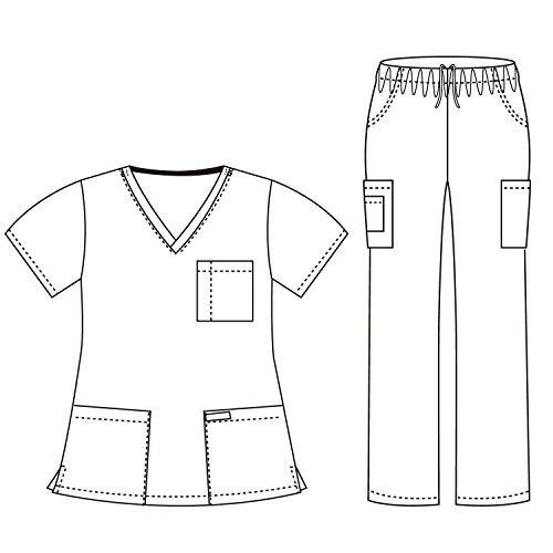 Dagacci Medical Scrubs Uniform Women and Man Scrubs Set Scrubs Medical Top and Pants (Seaform, X-Small) by Dagacci Medical Uniform (Image #1)