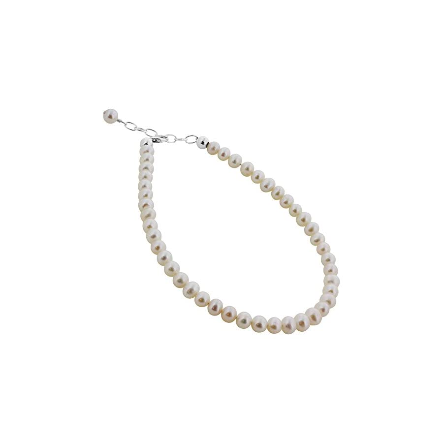 Sterling Silver Round White Freshwater Pearl Anklet 9 to 10 inch Adjustable Swarovski Elements