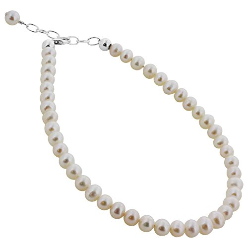 Gem Avenue Sterling Silver Swarovski Elements Round White Freshwater Pearl Ankle Bracelet 9 to 10 inch Adjustable