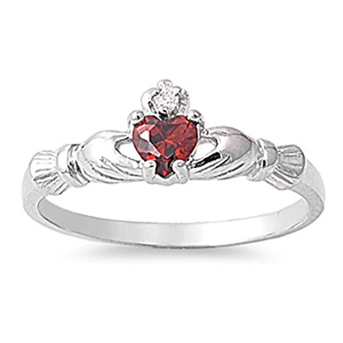 Sterling Silver Claddagh Ring Simulated Garnet Traditional Irish Knot Band
