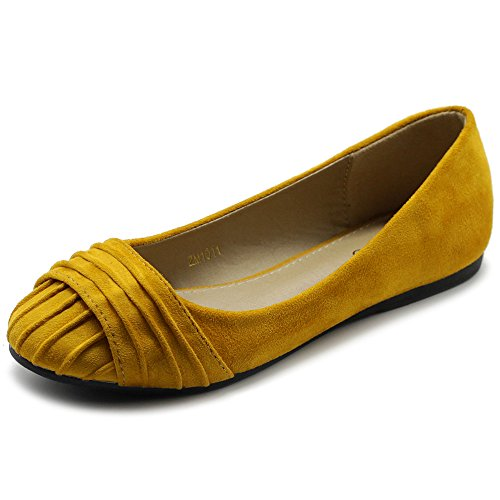 - Ollio Women's Shoes Faux Suede Pleated Muliti Color Comforts Ballet Flat NEW1011 (9 B(M) US, Mustard)