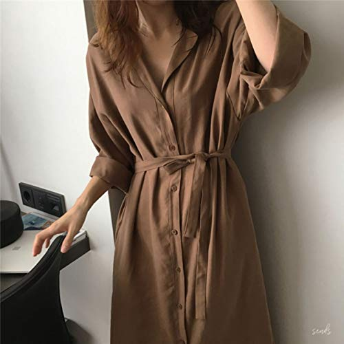 anyilon Women's Trench Coat Loose Solid Color Lapel Coat Fashion Cardigan Tops Casual Open Front Long Overcoat