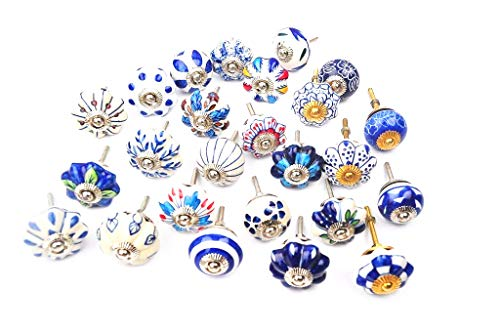(Set of 25 Blue and white hand painted ceramic pumpkin knobs cabinet drawer handles pulls)