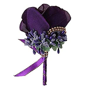 Abbie Home Bridegroom Boutonniere with Clip Brooch Pin for Wedding Party Prom-Purple 119