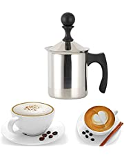RVS handmatige melkschuimer, melk opschuimmachine, trek de melk schuimer, met deksel, trekstaaf, dubbele filter, gebruikt om koffie cappuccino met opgeschuimde melk (400ml)
