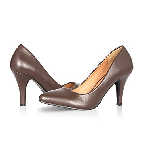 Yeviavy High Heels - Women's Pumps Stiletto Pointy Toed Dress Fashion Shoes JennaNs Dark Brown PU 7