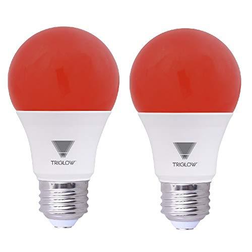 Red Led Light Bulb - TriGlow Red LED A19 Light Bulbs, 9 Watt (60 Watt Equivalent) Red Light Bulb, 2-Pack