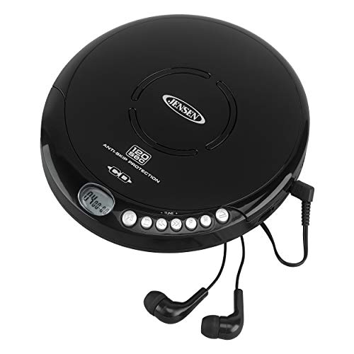 Jensen Portable CD-120BK Portable Personal CD Player Compact 120 SEC Anti-Skip CD Player - Lightweight & Shockproof Music Disc Player & FM Radio Pro-Earbuds for Kids & Adults