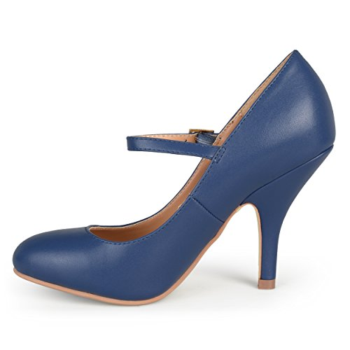 Journee Collection Femme Bout Rond Verni Mary Jane Pumps Marine Matte
