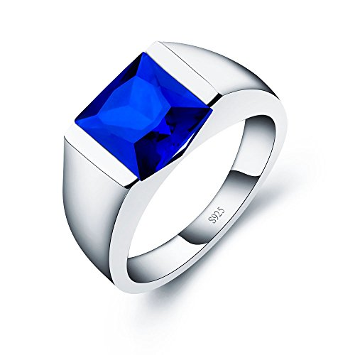 ANGG Men's Sterling Silver Ring Created Sapphire Emerald Smoky Quartz Wedding band (Sapphire Band Created)