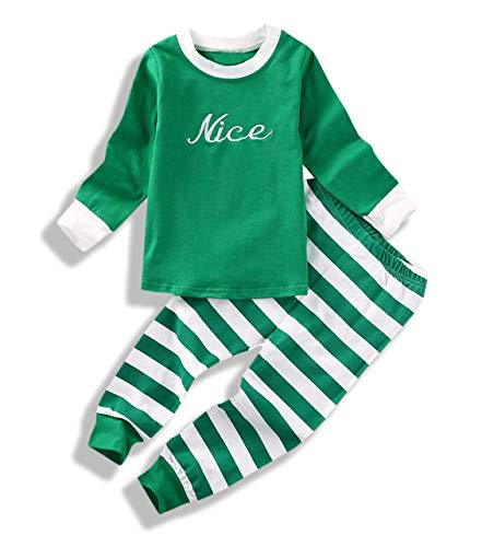 Naughty Pants (Mini honey Baby Kids Boy Girl Xmas Sleepwear Nice Naughty Long Sleeve Tops+Stripe Pants Outfits Set)