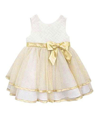 Rare Editions Baby Girls' Infant Ivory Gold Sparkle Basket-Weave Dress, 24 Months (Dress Basket Wedding Weave)