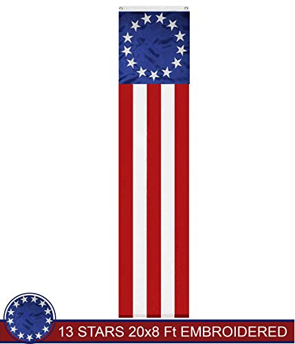 G128 Betsy Ross American Patriotic Bunting & Flag Pulldown, 13 Embroidered Stars in Circle Pattern with 5 Fully Sewn Stripes, decorative bunting, 20
