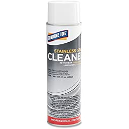 Genuine Joe GJO02114CT Stainless Steel Cleaner, 0.12 gal Can, Aerosol (Pack of 12)