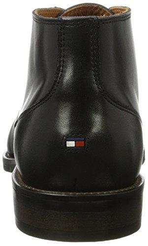Hilfiger Mannen Van Essentieel Belang Lederen Laars Derby Lace Up Brogues Zwart (black)