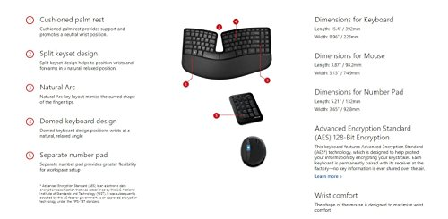 Microsoft Sculpt Ergonomic Wireless Desktop Keyboard and Mouse - L5V-00001,Black