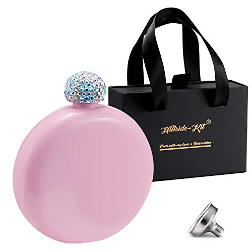 Booze Shot Flask- AB Crystal Lid Creative 304 Stainless Steel Wine Alcohol Liquor Flask for Women Girls Men Party Hand size Flask-5OZ (Pink)