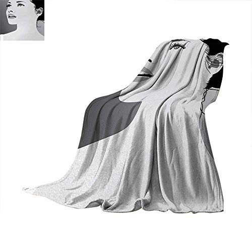 (Girls Weave Pattern Extra Long Blanket Young Gentle Woman with Make Up Looking in Digital Stylized She Artsy Graphic Print Lightweight Extra Big 90